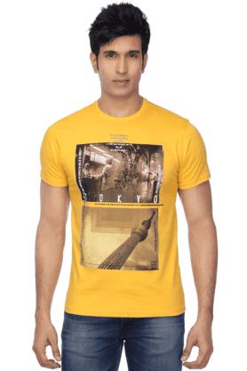 Mens Short Sleeves Slim Fit Round Neck Print T-Shirt