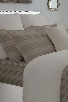 SPACESForever Classic Stripe Brown 400 TC Cotton King XL Bed Sheet With 4 Pillow Covers