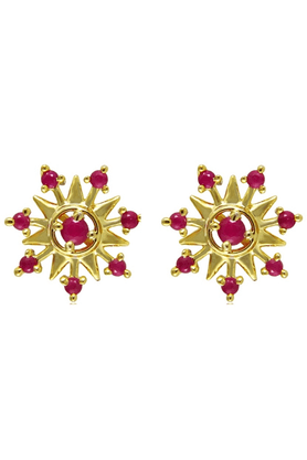 MAHI Gold Plated Floral Stud Earring With Ruby For Women ER1108956G