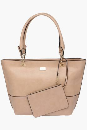 ALLEN SOLLY Womens Synthetic Leather Zipper Closure Tote Handbag