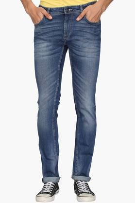 INDIAN TERRAIN Mens Slim Fit 5 Pocket Heavy Wash Jeans (Brooklyn Fit)