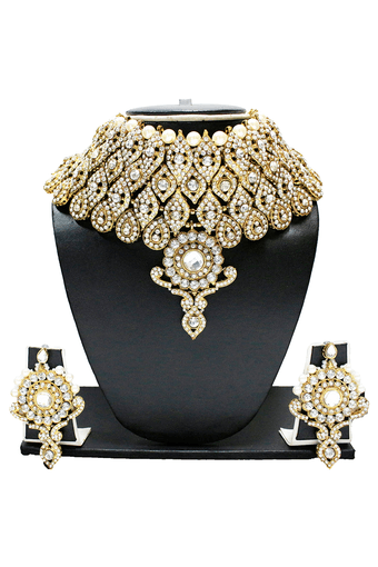 GRAND JODHA AKBAR INDIAN DBRIDAL DULHAN NECKLACE SET BY - ZPFK1288