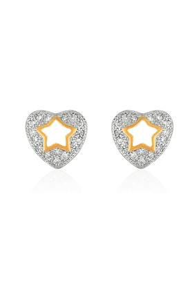 MAHI Mahi Gold Plated Twinkling Star Heart Stud Earrings With CZ For Women ER1109327G