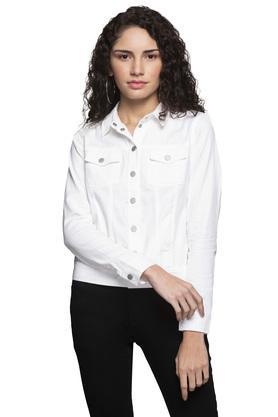 Womens Collared Slub Jacket