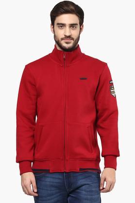 T-BASEMens Zip Through Neck Solid Sweatshirt
