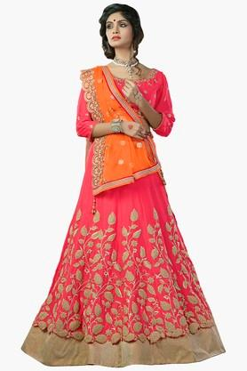 MAHOTSAV Womens Embroidered Semi Stitched Gota Lehenga Choli Set