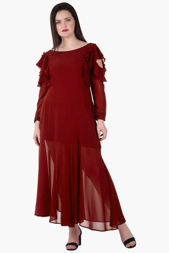 70b76f151b32d4 Buy CURVES Womens Boat Neck Cold Shoulder Solid Maxi Dress ...