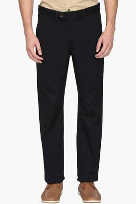 ALLEN SOLLYMens Regular Fit 5 Pocket Solid Trousers