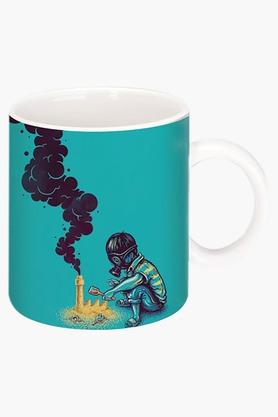 CRUDE AREA Black Smoke Handmade Printed Ceramic Coffee Mug