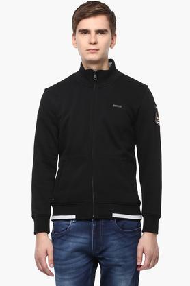 T-BASEMens Zip Through Neck Solid Sweatshirt - 201394625