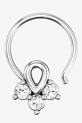 VELVETCASE Womens 18 Karat White Gold Nose Ring (Free Diamond Pendant) - 201065000