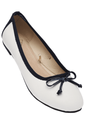 FLAUNT Womens Upper Bow Black Piping Slipon Ballerina Shoe
