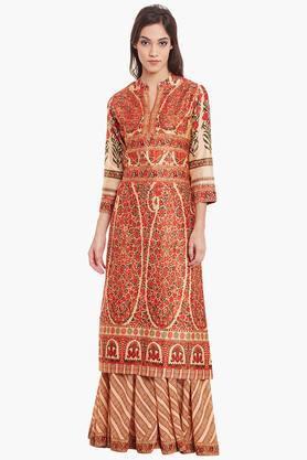 RITU KUMAR Womens Cotton Blend Kurta Palazzo Set  ...
