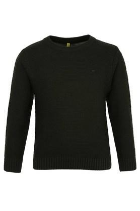 Boys Round Neck Solid Sweater