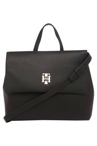 Womens Metallic Lock Closure Satchel Handbag