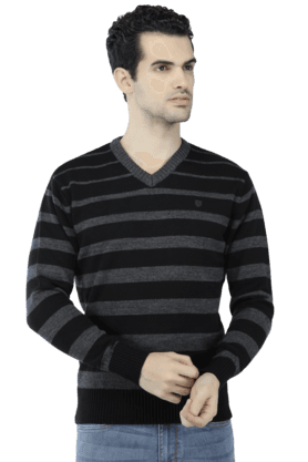 T-BASE Mens Full Sleeves V Neck Slim Fit Stripe Sweatshirts