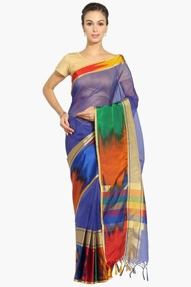 Women Stripe Chanderi Saree With Zari Border