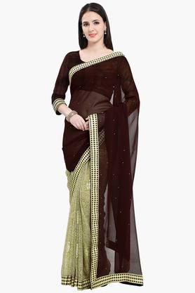 Women Chiffon Half & Half Floral With Lace Embellished Saree - 202447148