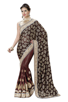 DEMARCA Women Georgette Saree (Buy Any Demarca Product & Get A Pair Of Matching Earrings Free) - 200875596