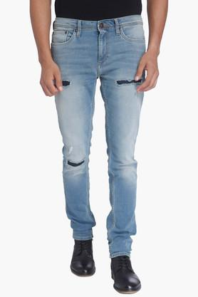 JACK AND JONES Mens Skinny Fit Distressed Jeans (Ben Fit)