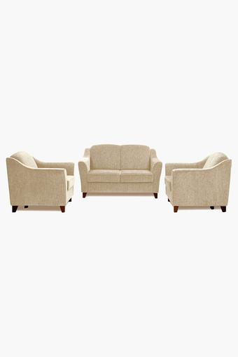 Canvas Beige Fabric Sofa (2-1-1 Sofa Set)