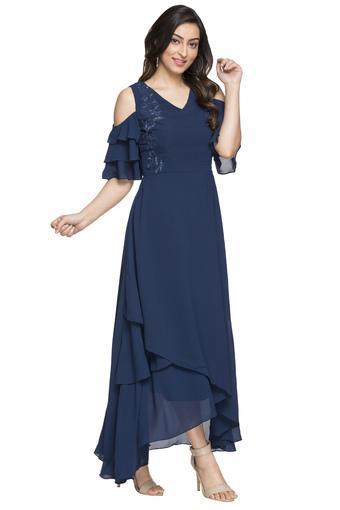 Womens V Neck Embellished Asymmetrical Dress
