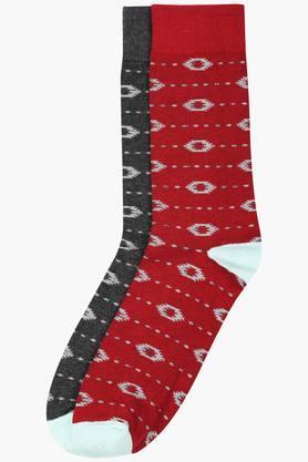 LIFEMens Printed Crew Length Socks Pack Of 2