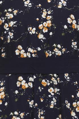Womens V Neck Floral Printed Skater Dress