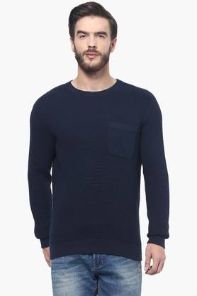 CELIOMens Full Sleeves Round Neck Solid Sweater