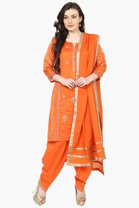 Women's Poly Cotton Zari Embroidery Salwar Suit