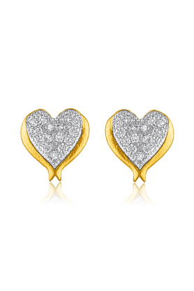 MAHI Mahi Gold Plated Micro Pave Heart Stud Earrings With CZ Stones For Women ER1109333G