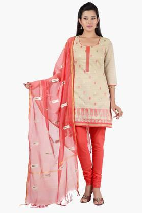 JASHN Women Self Woven Chanderi Churidaar Kameez With Embroidered Dupatta