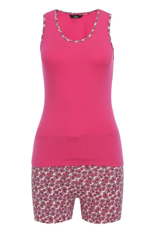 Womens Round Neck Solid Top and Shorts Set