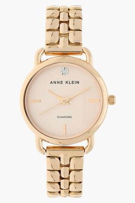 ANNE KLEIN Womens Rose Gold Dial Metal Strap Watch