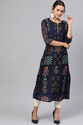 Womens A Line Fit Round Neck Printed Kurta