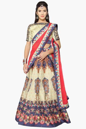 fa83f6b371ecd5 Buy HYPNOTEX Womens Semi Stitched Boat Neck Printed Zari Embroidered  Lehenga Choli | Shoppers Stop