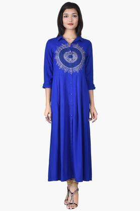 JUNIPER Women Long Shirt Dress With Knife Pleates