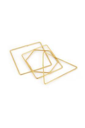 Womens Brass Geometric Bangles Set Of 4
