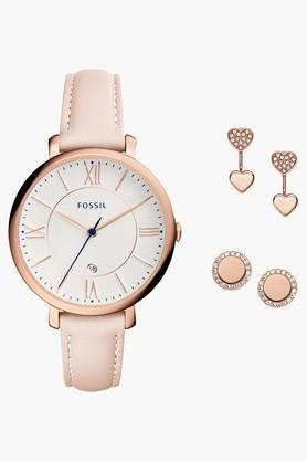 Fossil Womens Analogue Leather Watch and Studs Set image
