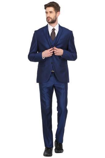 Mens Notched Lapel Solid 3 Piece Suit