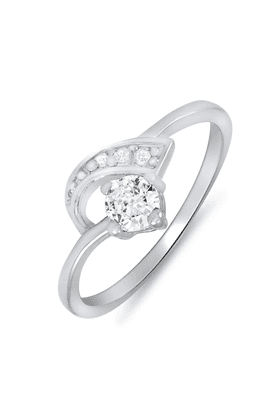 MAHI Rhodium Plated Arched-Glitter Ring With CZ Stones For Women FR1100080R