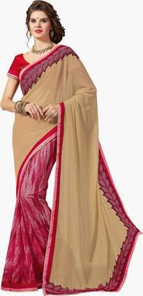 ASHIKA Womens Colour Block Embroidered Saree