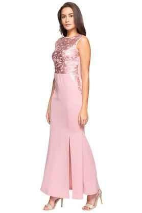 Womens Round Neck Solid Embellished Empire Line Maxi Dress