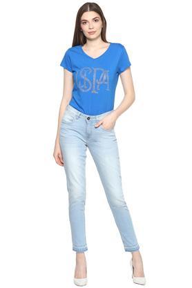 Womens 5 Pocket Mild Wash Jeans