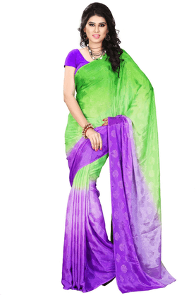 DEMARCA De Marca Green::Purple Jacquard Designer DF-560A Saree
