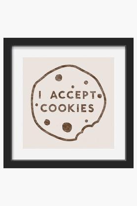 CRUDE AREA Multi Colour I Accept Cookies Printed Framed Art (Medium)  ...