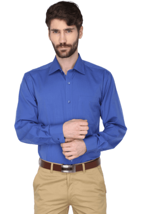 Mens Full Sleeves Slim Fit Solid Formal Shirt