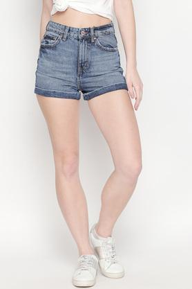 Womens 5 Pocket Washed Shorts