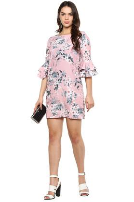 Womens Square Neck Floral Print Shift Dress