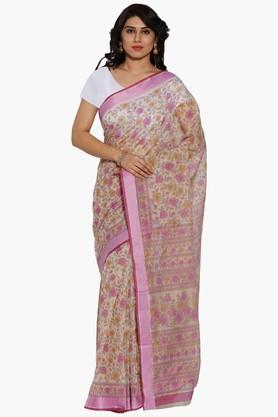 JASHNWomen Floral Print Cotton Saree